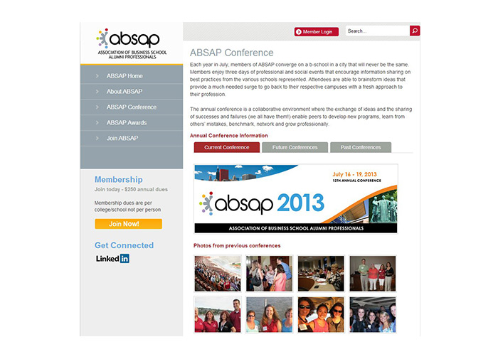 Association of Business School Alumni Professionals (ABSAP) -Website