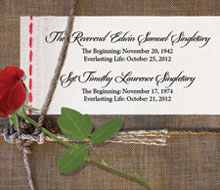 Memorial Tribute to the Reverend Edwin S. Singletary & SGT Timothy L. Singletary